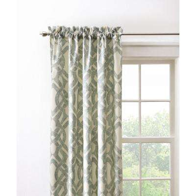 Semi-Opaque Waveland 96 in. L Cotton Drapery Panel in Green Blue