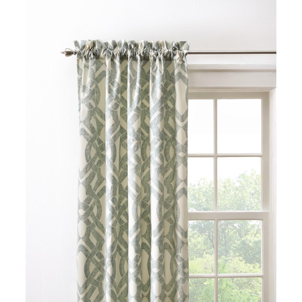 Home Decorators Collection Semi-Opaque Waveland 108 in. L Cotton Drapery Panel in Green Blue