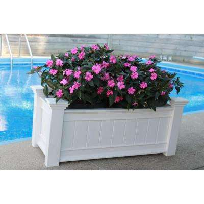 Windsor 42 in. x 18-1/2 in. White Vinyl Planter Box