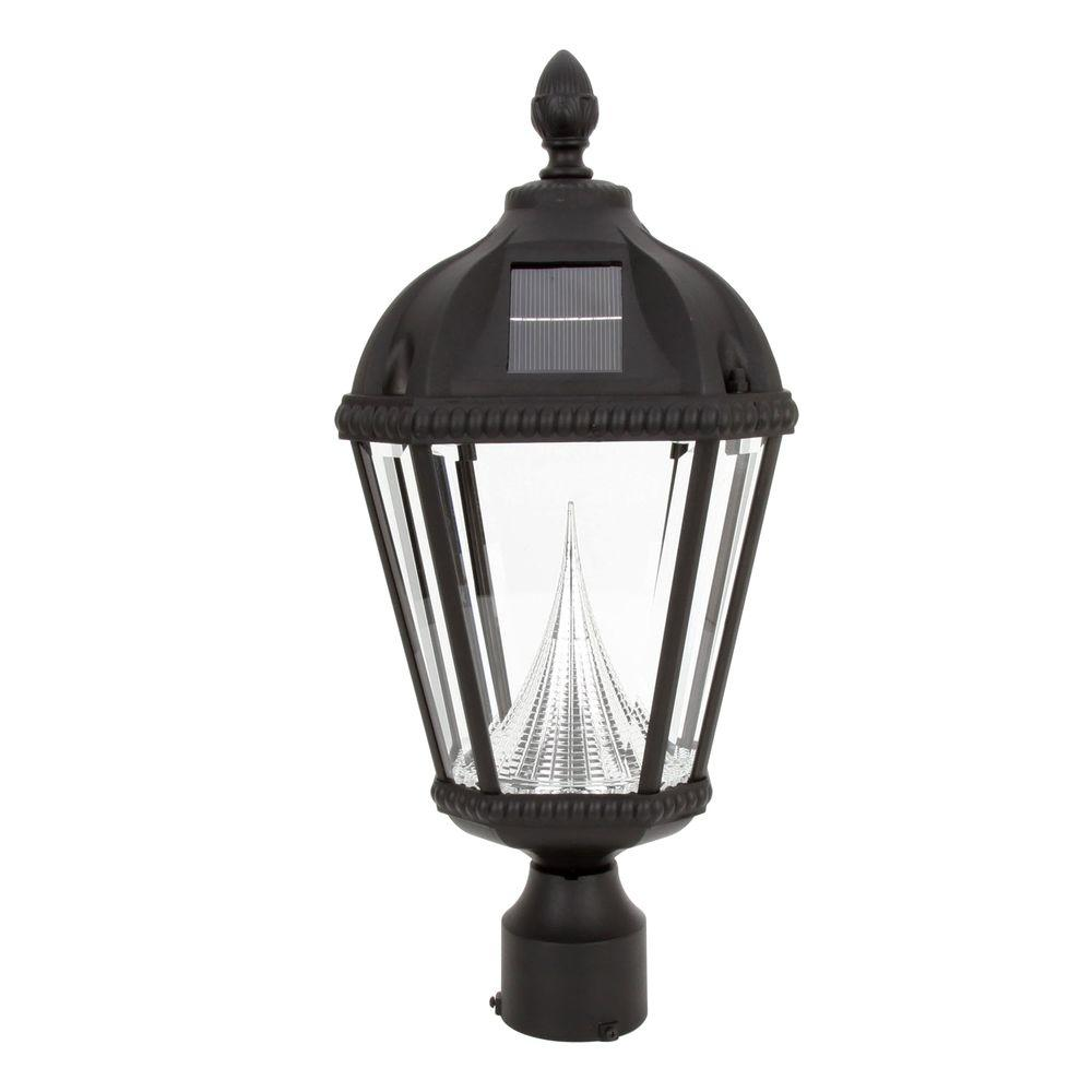 Gama Sonic Royal Solar Black Outdoor Post Light on 3 in. Fitter Mount