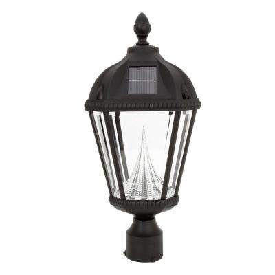 Royal Solar Black Outdoor Post Light on 3 in. Fitter Mount