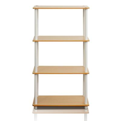 43.25 in. Beech/White Plastic 4-shelf Etagere Bookcase with Open Back