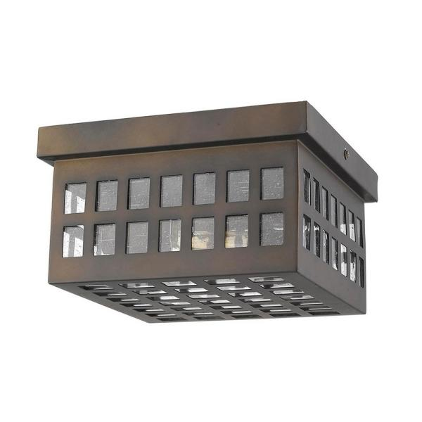 Letzel 2-Light Oil-Rubbed Bronze Outdoor Flush Mount