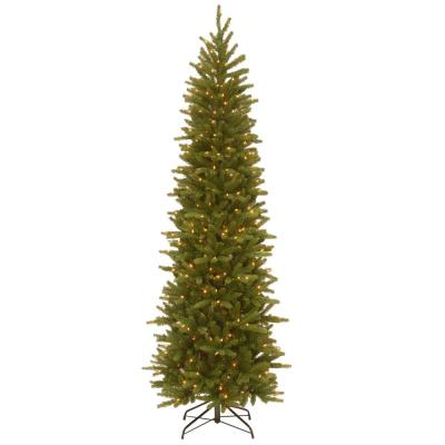 7-1/2 ft. Feel Real Grande Fir Pencil Slim Hinged Artificial Christmas Tree with 350 Clear Lights