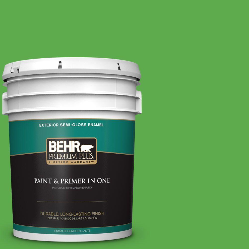 BEHR Premium Plus 5-gal. #440B-6 Barnyard Grass Semi-Gloss Enamel Exterior Paint