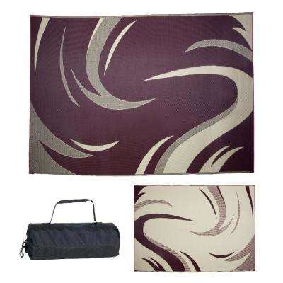 8 ft. x 11 ft. Swish Burgundy/Tan Reversible Mat