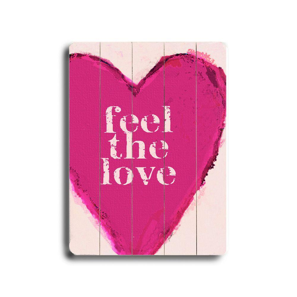 ArteHouse 14 in. x 20 in. Feel the Love Wood Sign-DISCONTINUED