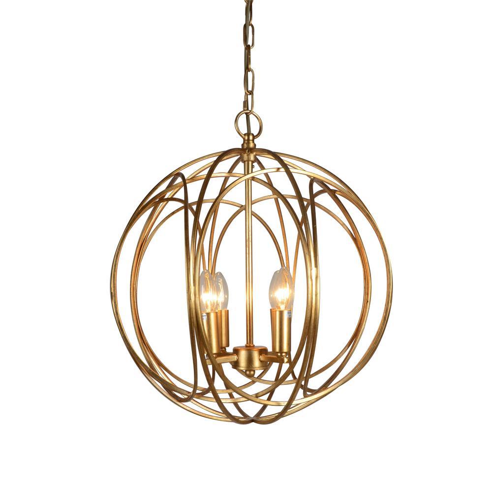 4-Light Gold Chandelier