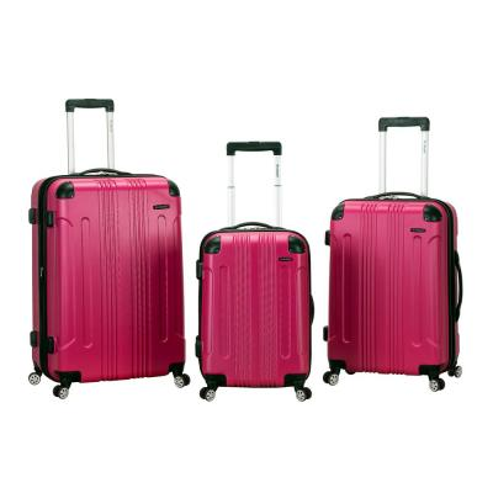 Rockland Sonic 3-Piece Hardside Spinner Luggage Set, Magenta