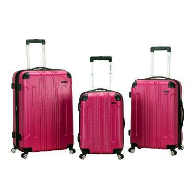 Rockland Sonic 3-Piece Hardside Spinner Luggage Set, Magenta