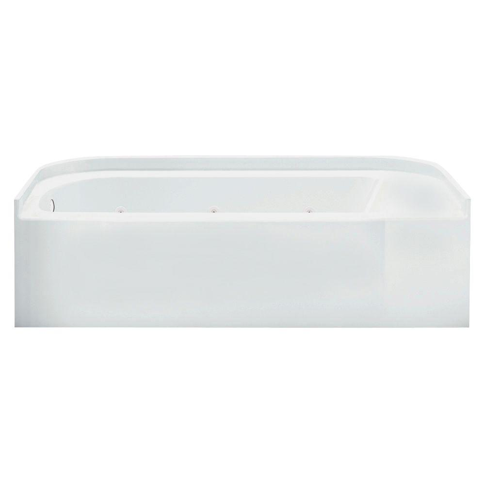 Accord 5 ft. Right-Drain Rectangular Alcove Whirlpool Bathtub in White