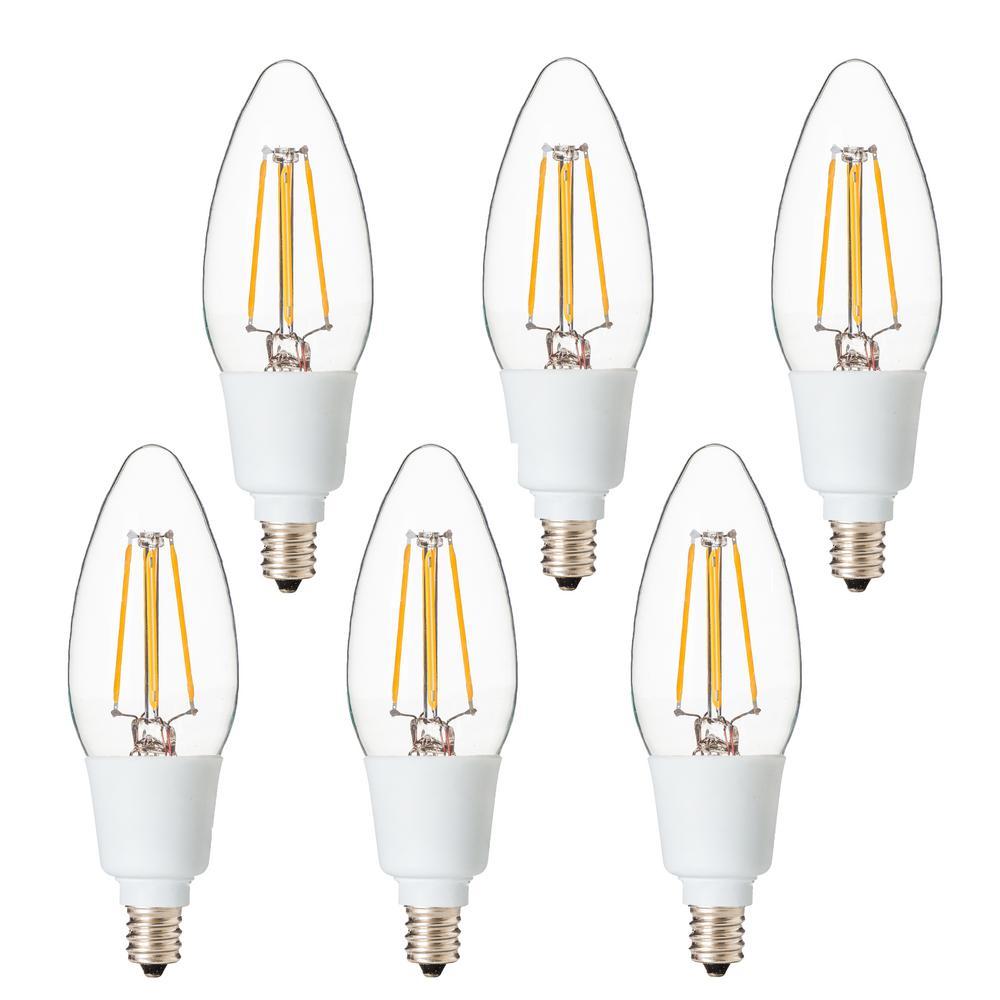 Dimmable Filament 40-Watt Equivalent 2700K E12 B11 LED Replacement Fine Tip Light Bulb, Warm White (Set of 6)