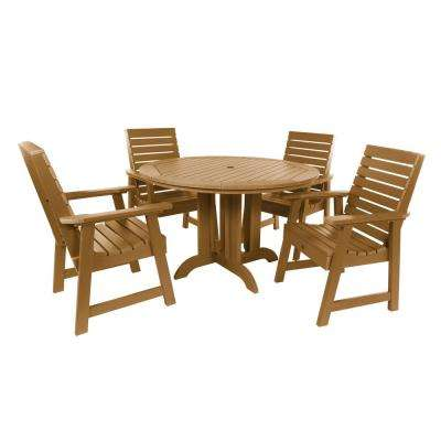 Weatherly Toffee 5-Piece Recycled Plastic Round Outdoor Dining Set