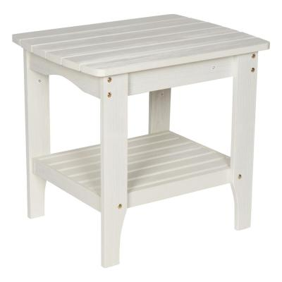 24 in. L Large Eggshell White Cedar Wood HYDRO-TEX Finish Rectangular Indoor/Outdoor Side Table