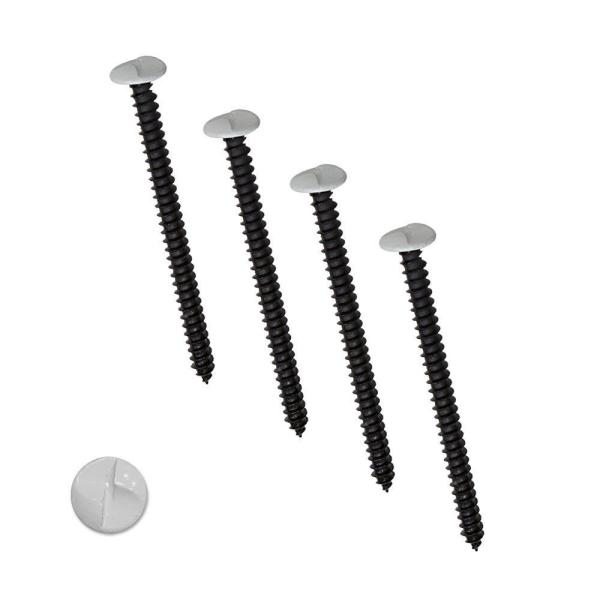 4 in. White One-Way Screws (4-Pack)