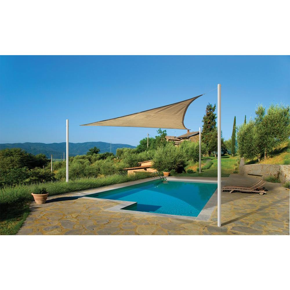 ShelterLogic 12 ft. W x 12 ft. L Triangle Sun Shade Sail in Sand (Poles Not  Included) with Breathable, UV-Stabilized Fabric