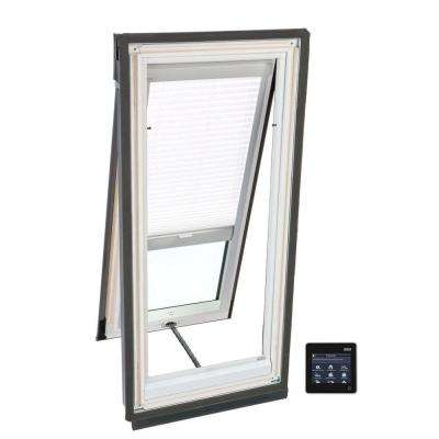 21 in. x 26-7/8 in. Solar Powered Venting Deck-Mount Skylight w/ Laminated Low-E3 Glass and White Light Filtering Blind
