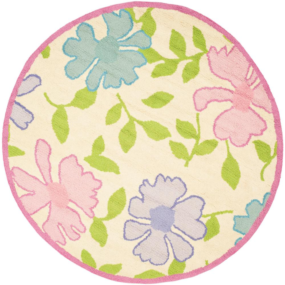 Kids Ivory/Pink 4 ft. x 4 ft. Round Area Rug