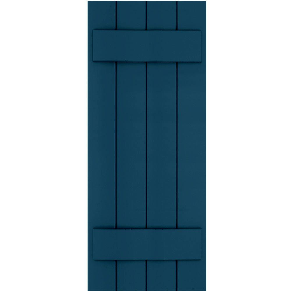 Winworks Wood Composite 15 in. x 38 in. Board & Batten Shutters Pair #637 Deep Sea Blue