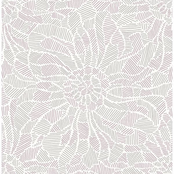 A-Street 8 in. x 10 in. Daydream Purple Abstract Floral Wallpaper