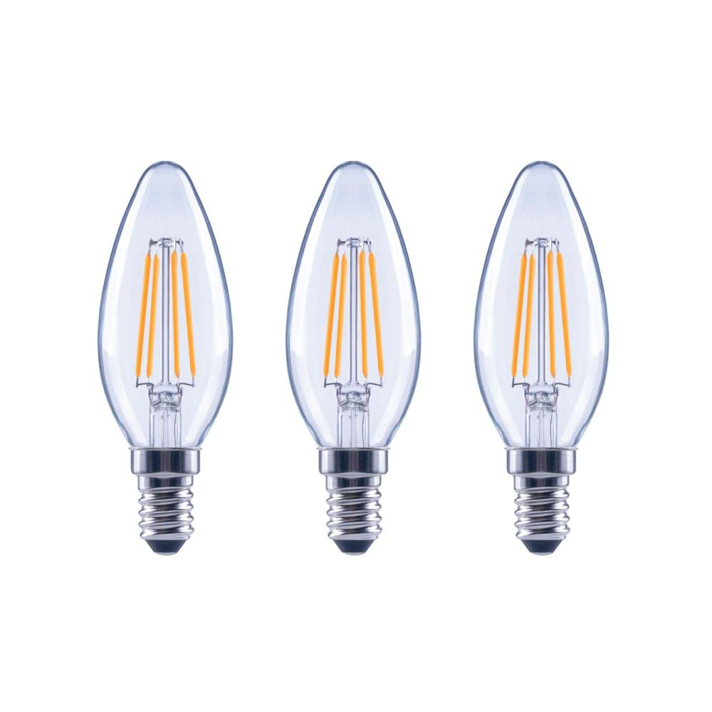EcoSmart 40-Watt Equivalent B11 Candle Dimmable Energy Star Clear Glass Filament Vintage LED Light Bulb Daylight (3-Pack)
