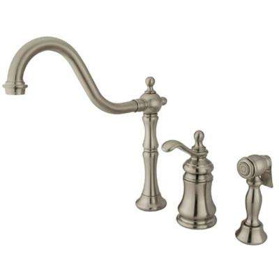 Victorian Single-Handle Standard Kitchen Faucet with Side Sprayer in Satin Nickel