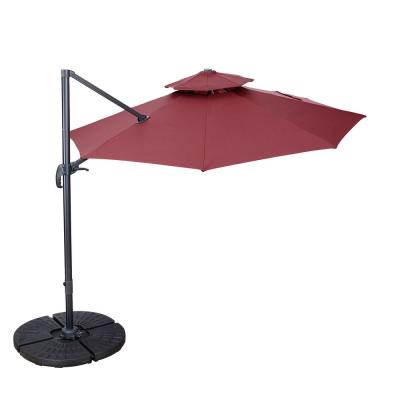 11 ft. Aluminum Cantilever Tilt Patio Umbrella in Red Windproof Double Top 360° Rotation