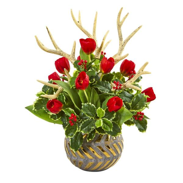 23in. Tulips, Antlers and Holly Leaf Artificial Arrangement in Bowl
