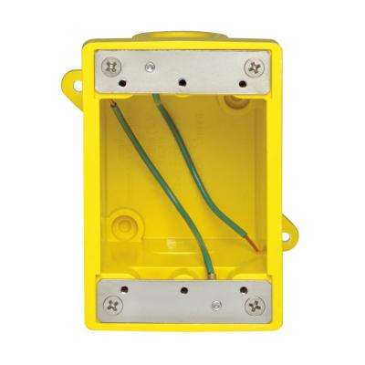 FD Box 2 KO Openings 1/2 in. for Straight/Locking Outlet, Yellow