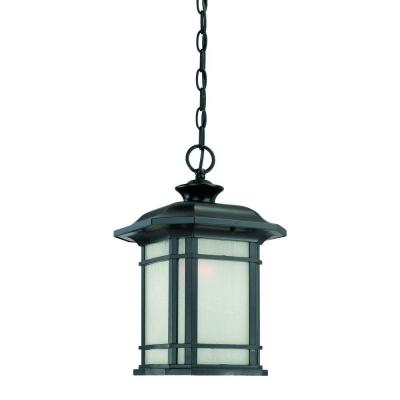 Somerset Collection 1-Light Matte Black Outdoor Hanging Light Fixture