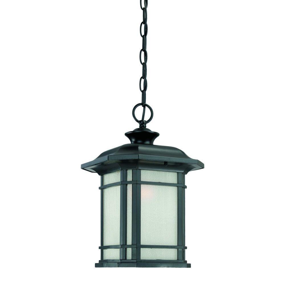 Somerset Collection 1-Light Matte Black Outdoor Hanging Light Fixture