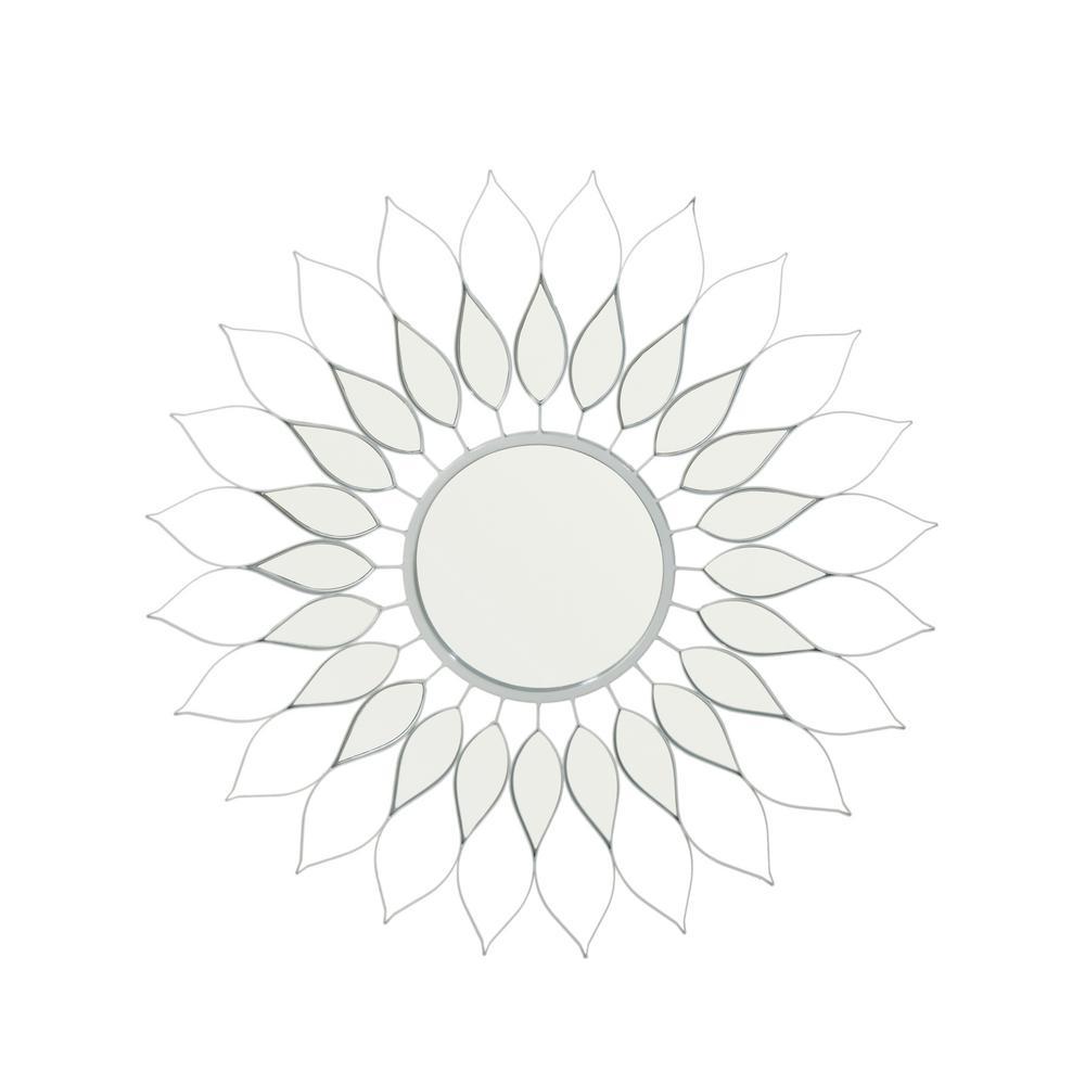 Alioth Glam Flower Silver Wall Mirror