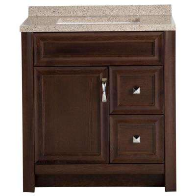 Candlesby 31 in. W x 19 in. D Bathroom Vanity in Cognac with Solid Surface Vanity Top in Autumn with White Sink