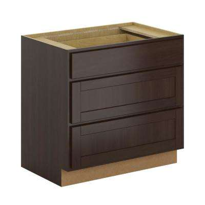 Princeton Shaker Assembled 36x34.5x24 in. Pots and Pans Drawer Base Cabinet in Java