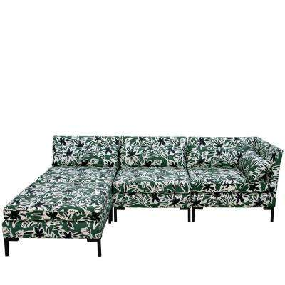 Cari Floral Green Black Standard Sectional
