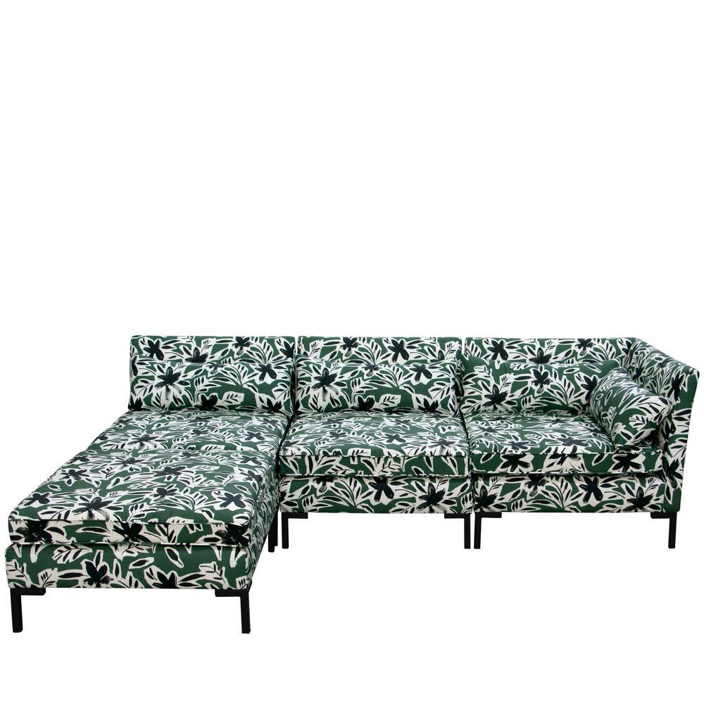 Brilliant Skyline Furniture Cari Floral Green Black Standard Sectional Machost Co Dining Chair Design Ideas Machostcouk