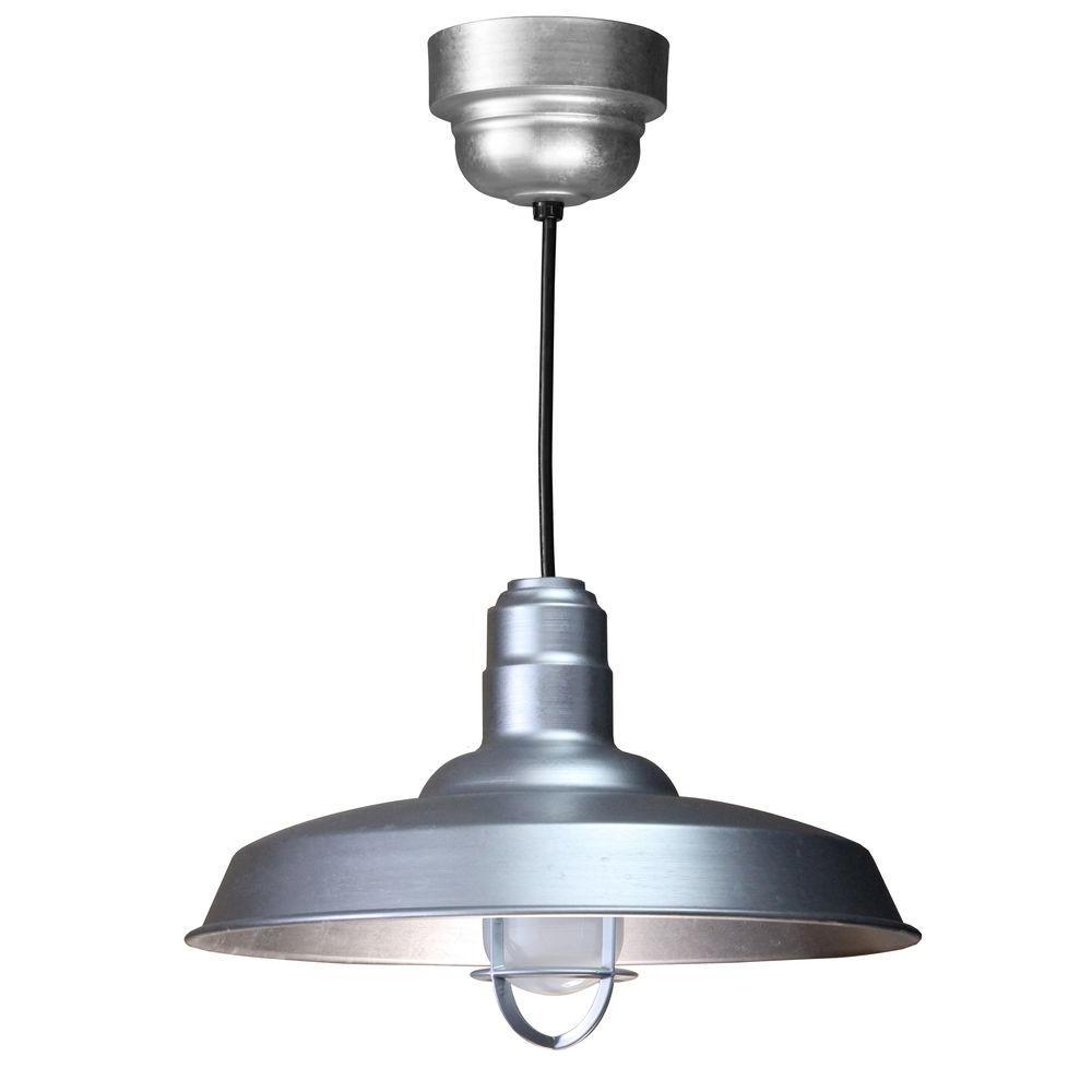 1-Light Ceiling Galvanized Fluorescent Pendant
