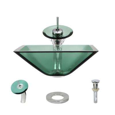 Glass Vessel Sink in Ivy with Waterfall Faucet and Pop-Up Drain in Chrome