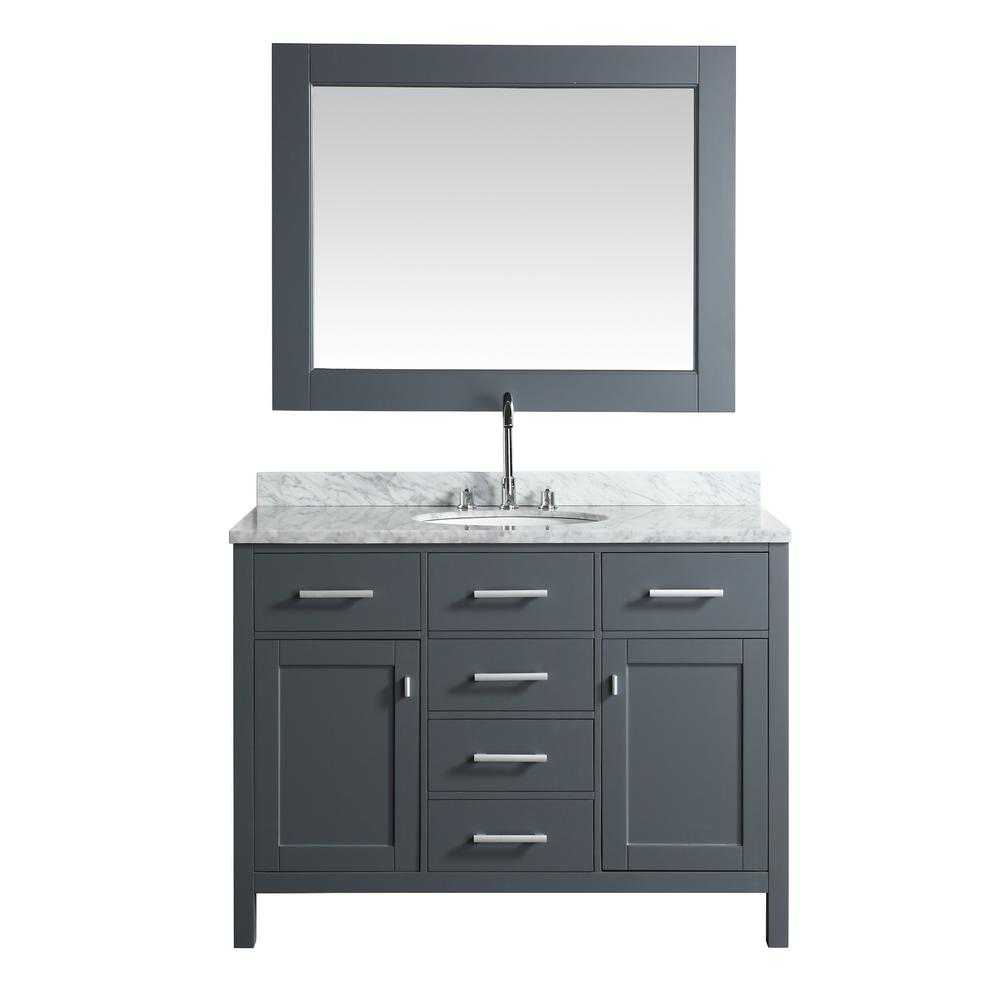 Design Element London 48 in. W x 22 in. D Vanity in Gray with Marble ...
