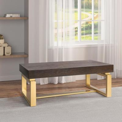 42 in. Gold/Black Large Rectangle Wood Coffee Table