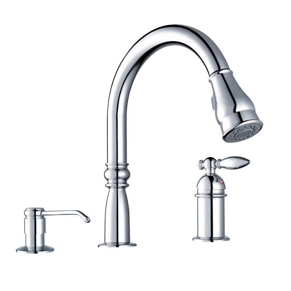 Sheffield Home Silao Single-Handle Pull Out Kitchen Faucet with Matching Soap Pump in Polished Chrome-DISCONTINUED