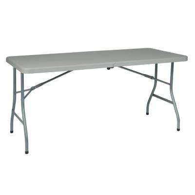 5 ft. Resin Multi-Purpose Light Gray Center Fold Table with Wheels