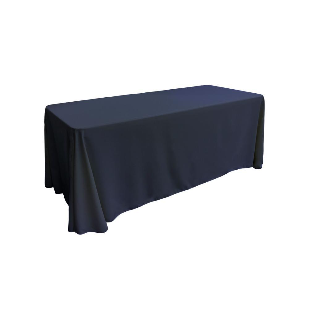 90 in. x 132 in. Navy Blue Polyester Poplin Rectangular Tablecloth