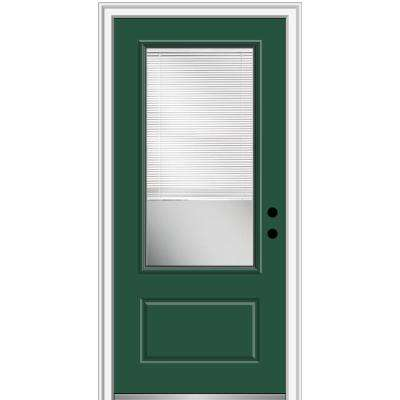 36 in. x 80 in. Internal Blinds Left-Hand Inswing 3/4-Lite Clear 1-Panel Painted Fiberglass Smooth Prehung Front Door