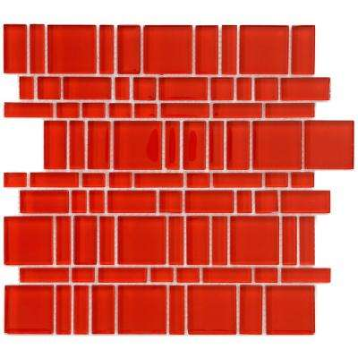 Tessera Magic Carnelian 11-3/4 in. x 11-3/4 in. x 8 mm Glass Mosaic Tile