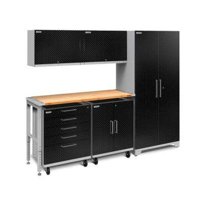 Performance Plus Diamond Plate 2.0 80 in. H x 97 in. W x 24 in. D Garage Cabinet Set in Black (6-Piece)