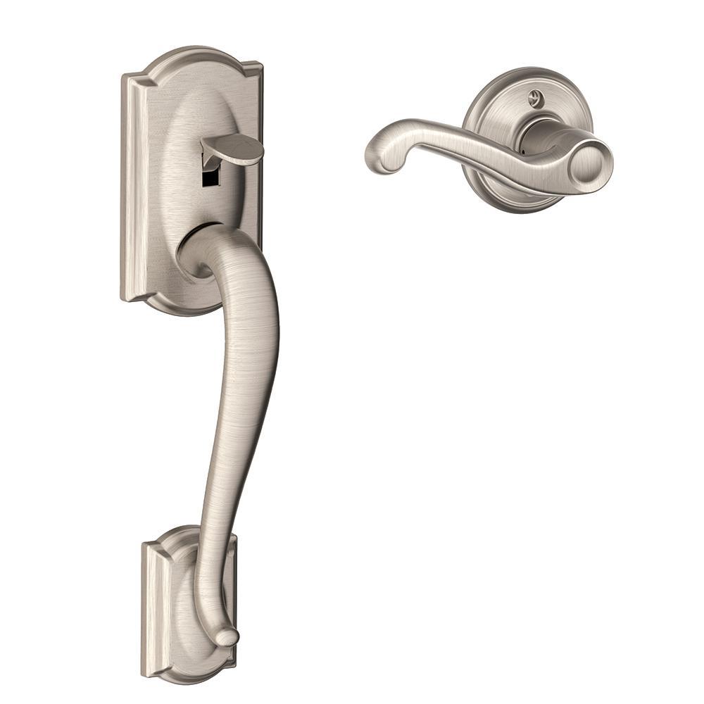 Camelot Satin Nickel Entry Door Handle with Right Handed Flair Door Lever