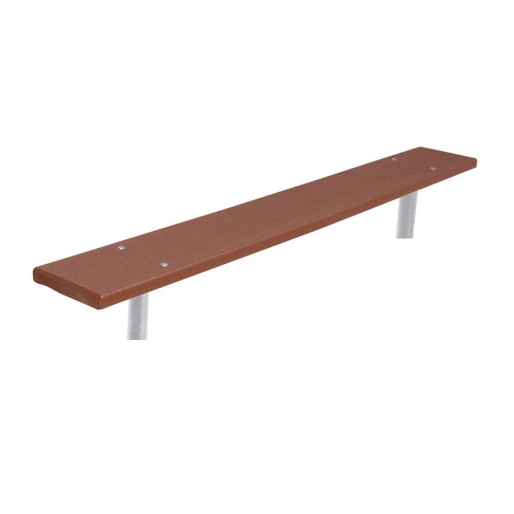 6 ft. Brown Commercial Park In-Ground Recycled Plastic Bench without Back
