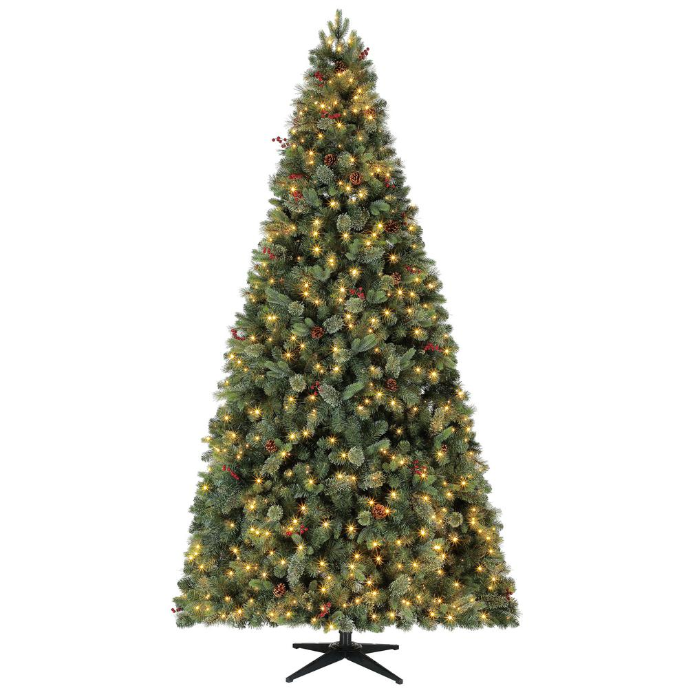9 Ft Pre Lit Led Fir Artificial Christmas Tree With Pine Cones And Berries And 800 Warm White Micro Dot Lights by Home Accents Holiday