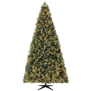 9 ft Pre-Lit LED Fir Artificial Christmas Tree with Pine Cones and Berries and 800 Warm White Micro-Dot Lights